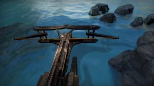 In-game: a massive ballista mounted to the side of a ship.