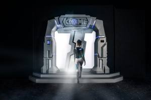 In-game: A beautiful woman in a tight body suit approaching white and blue sci-fi entry way for The Dome.