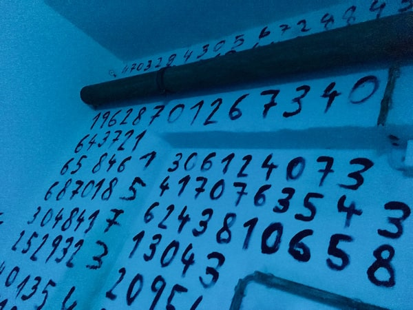 In-game: Numbers scrawled in blood all over a white wall.