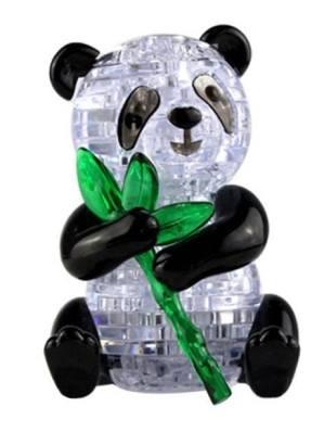 A 3 dimensional panda bear holding bamboo.