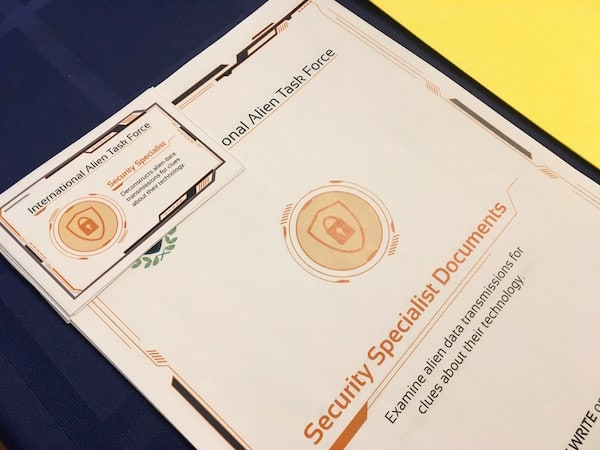 The Security Specialist's Documents printed in orange.