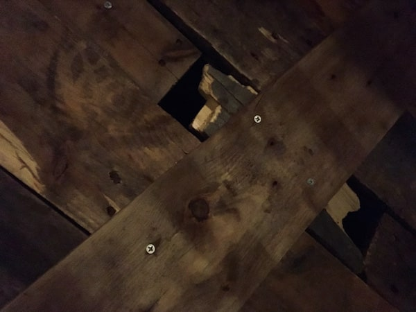 In-game: Closeup of a broken piece of wood in an old coffin.