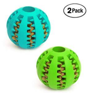 2 balls containing dog food