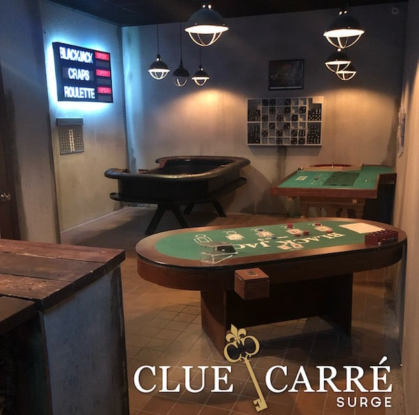 In-game: A back room casion with blackjack, roulette, a craps tables.