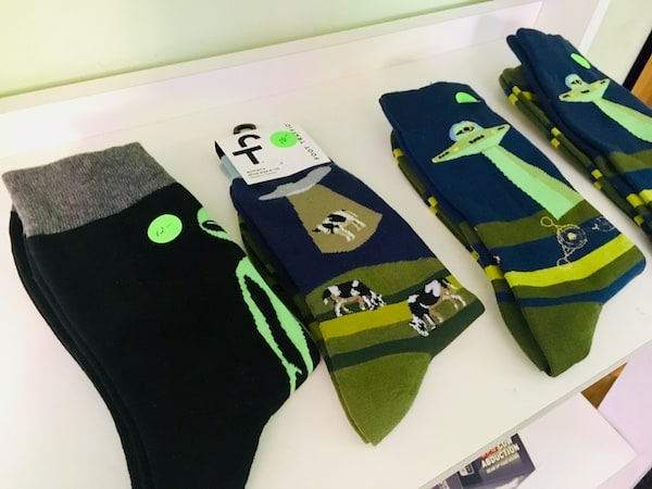 In-game: A shelf of alien socks.
