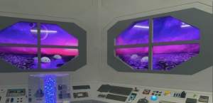 A spaceship interior with windows peering out at a planet's surface.