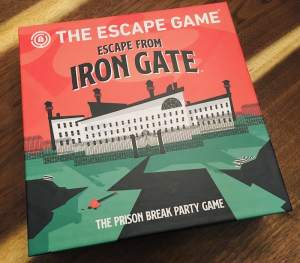 "Escape Iron Gate's box featuring a prison and labeled, ""The prison break party game."""