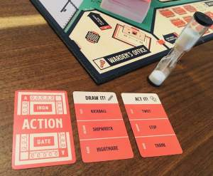 Action card examples, including a pictionary card and a charades card.