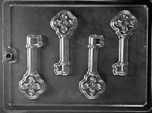 4 antique lever keys in a clear mold.