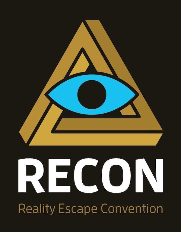 RECON - Reality Escape Convention logo features a penrose triangle and and a blue eye.