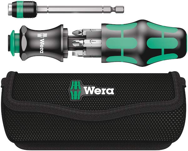 A Wera screw driver with extendable neck, and 6 bits that store in the handle.