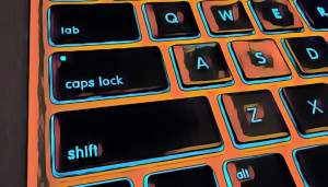Close up stylized image of the shift and caps lock keys on a Mac keyboard.
