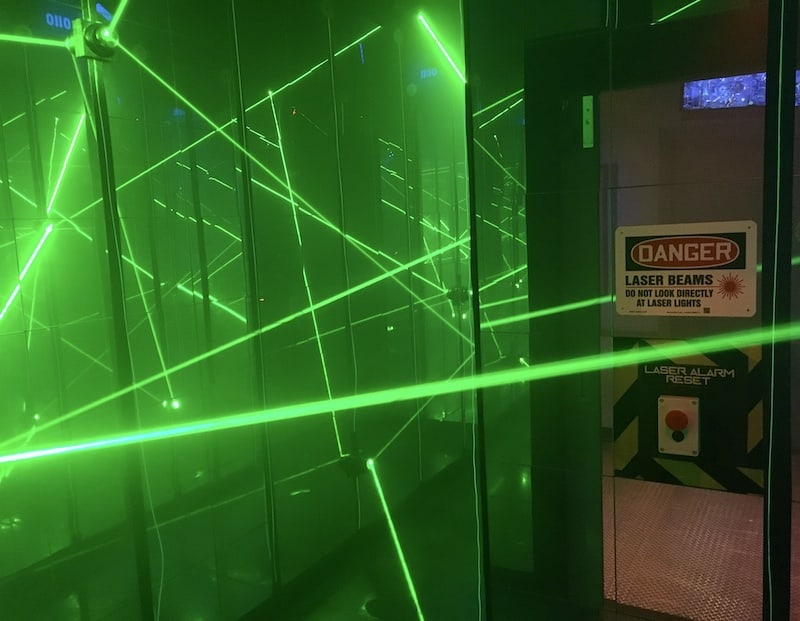 In-game: A large laser maze in a mirrored room.