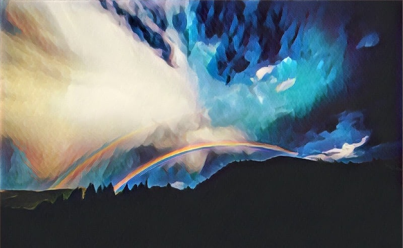 Stylized image of a horizon with two rainbows.