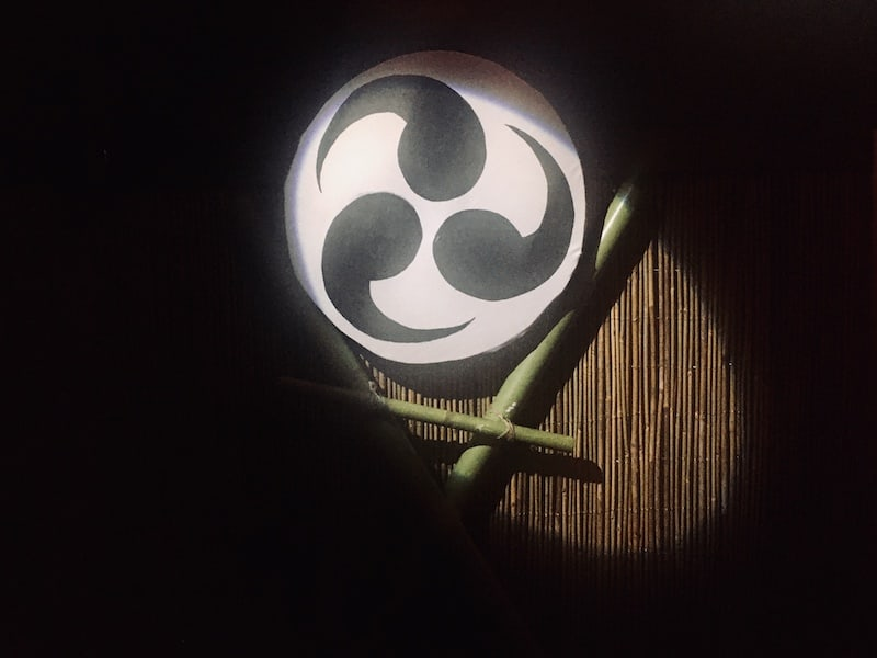 In-game: a large black and white symbol hung from a wall of bamboo and spotlit in the darkness.