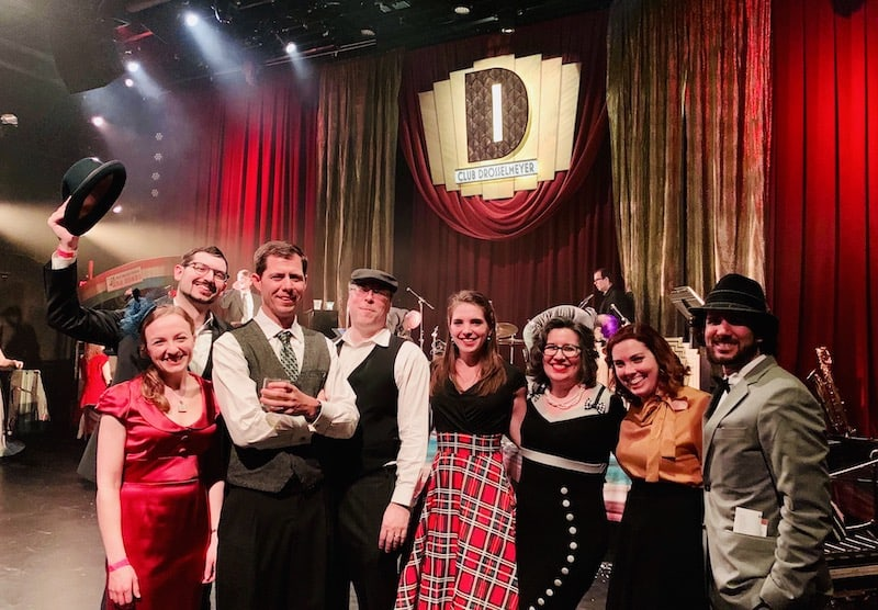 In-game: Us with oru friends at in front of the Drosselmeyer stage at the end of the show.