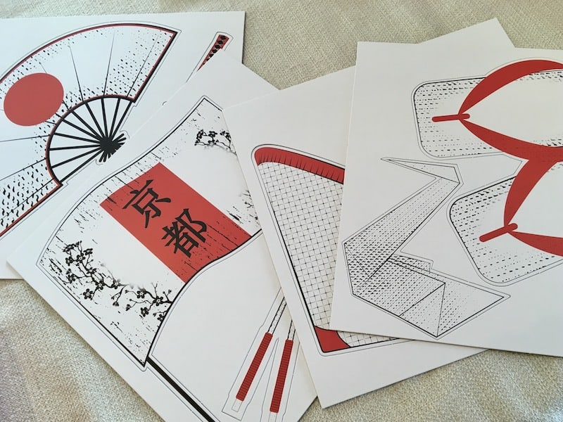 Assorted large cardboard Japanese items.
