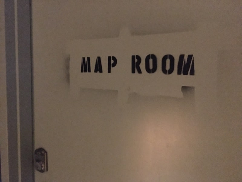 In-game: Closeup of the map room door.