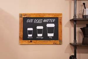 "In-game: A sign with the coffee shop's cup sizes. The sign reads, ""Size does matter"" and the sizes are, ""Micro, average, & big."""