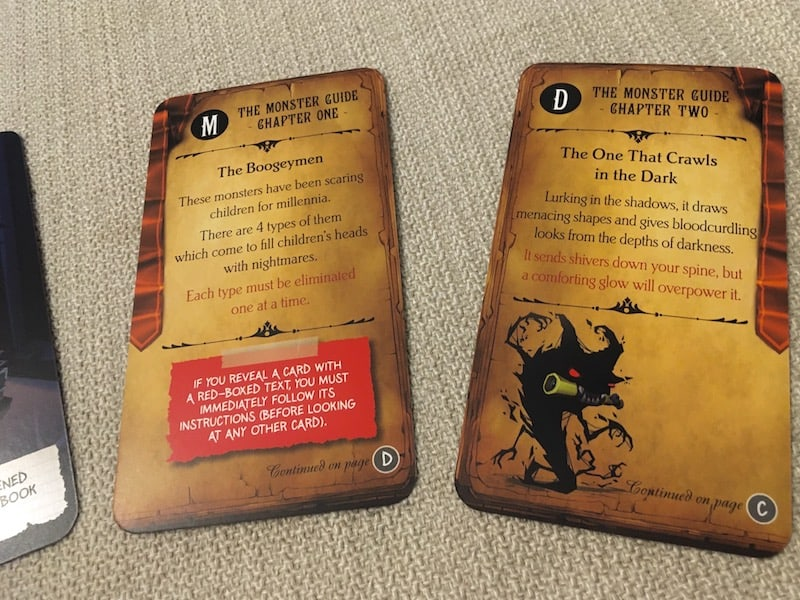 The first two chapter cards explain the nature of the Boogeymen