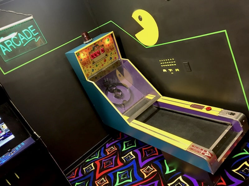 In-game: a skee ball machine in an arcade.