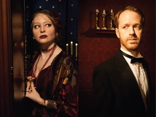 Haley Cooper on the left and Cameron Cooper on the right, both in costume as actors in Strange Bird Immersive's The Man from Beyond