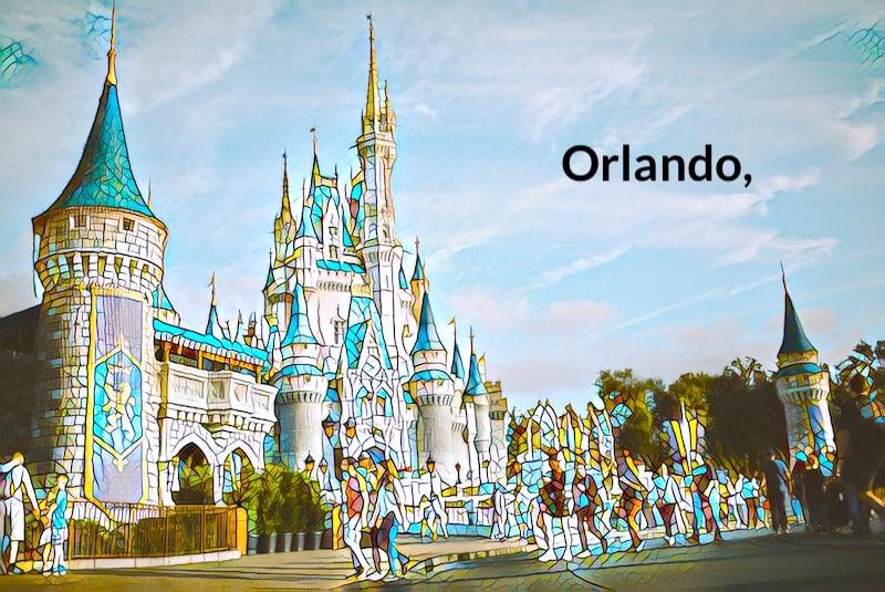Stylized image of Cinderella's Castle at Disney Orlando.