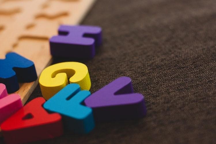 A child's letter puzzle.
