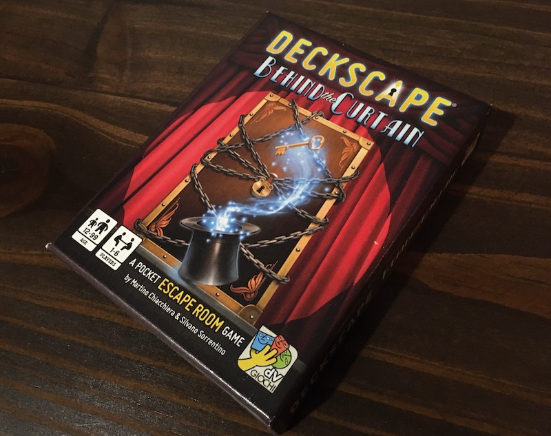 The stage magic box art for Deckscape - Behind the Curtain.