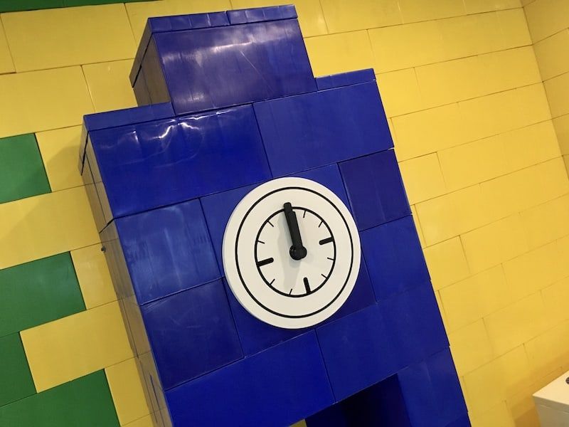 In-game: A clock built from giant legos.