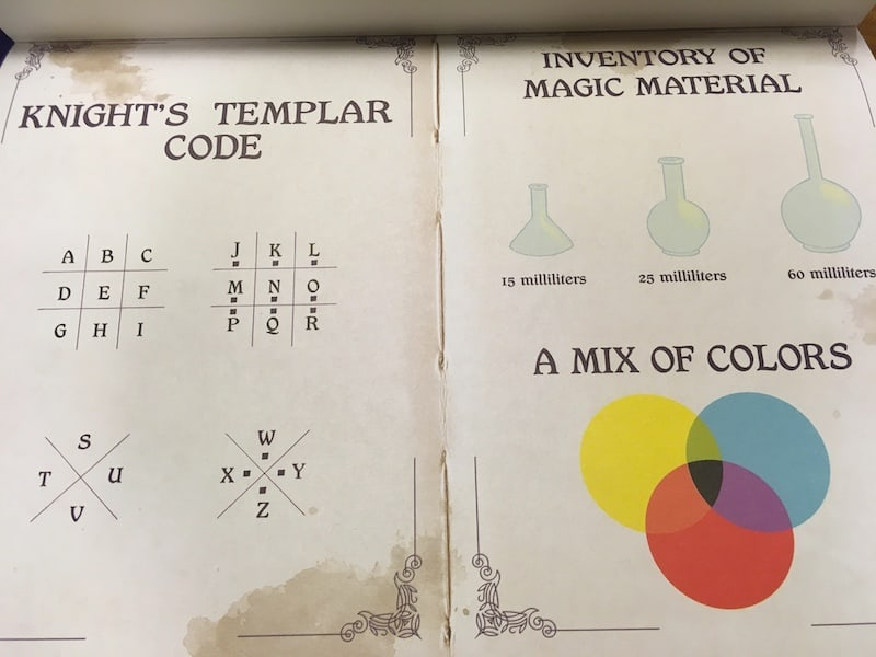 A guide book with a Knight's Templar Code key, magcal flask volumes, and a color mixing chart in CMY.
