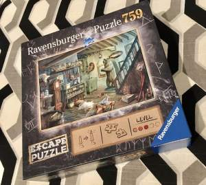 Ravensburger's Forbidden Basement Escape Puzzle box art depicting a ransacked basement filled with strange items.