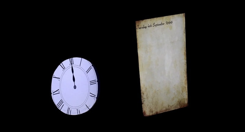 In-game: the game clock and hints presented as a pocketwatch and journal.