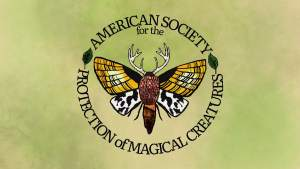 The magical moth logo for The American Society for the Protection of Magical Creatures.