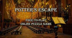"The hall at Hogwarts lit by floating candles. The image reads, ""Potter's Escape Free-To-Play Online Puzzle Game"""