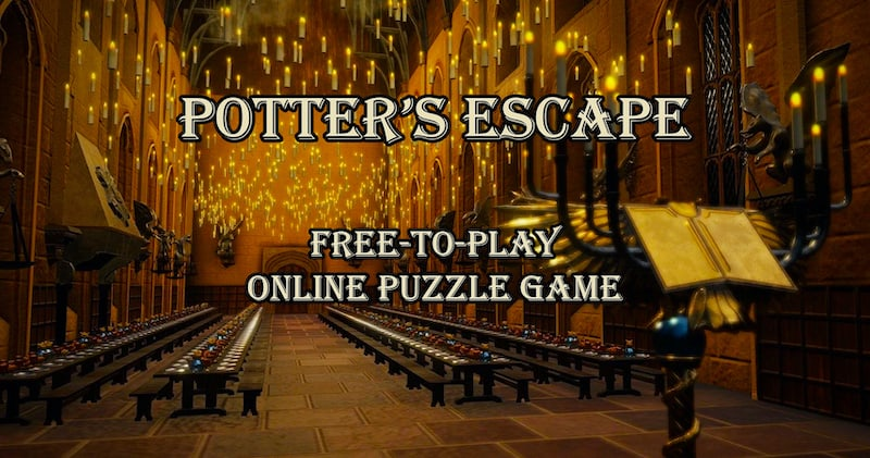 """The hall at Hogwarts lit by floating candles. The image reads, """"Potter's Escape Free-To-Play Online Puzzle Game"""""""
