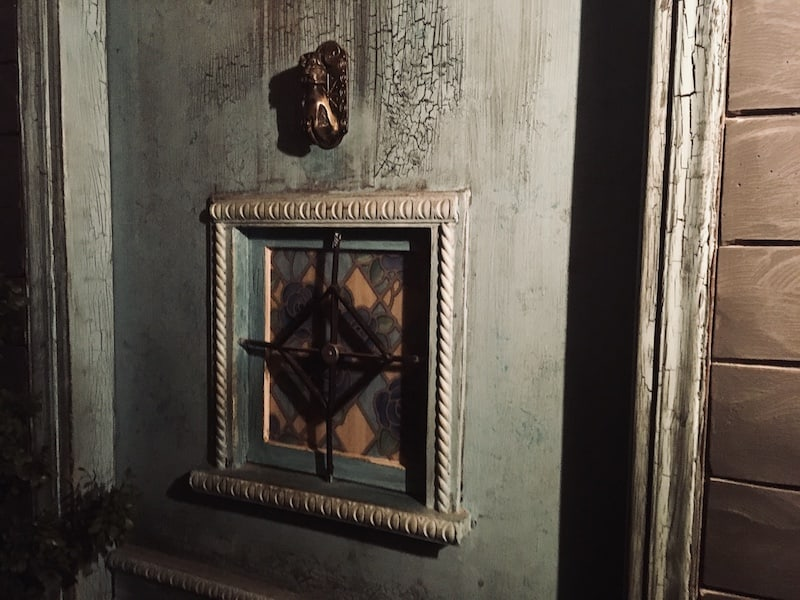 In-lobby: closeup of an old, weathered door.