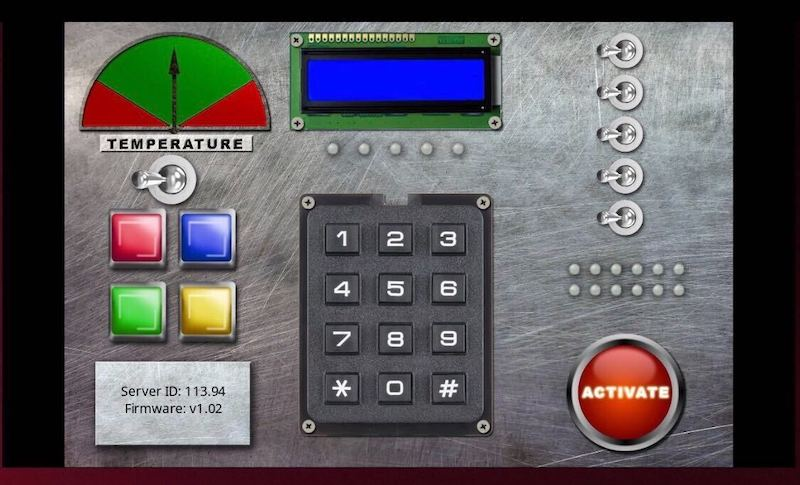 A control panel with a variety of buttons, switches, and displays.