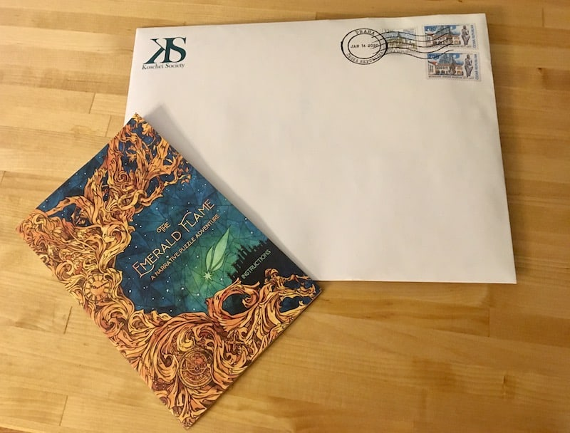 The Emerald Flame instructions beside the first package.