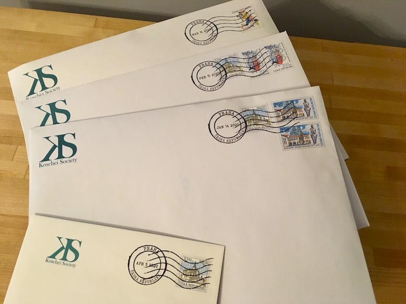 All Emerald Flame packages laid out. They seem to have been mailed from Prague.