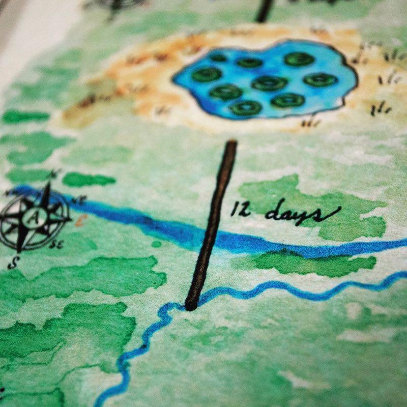 Closeup of a watercolor map.