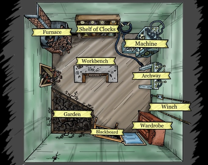 An overhead view of a laboratory. Each area of the room is labeled.