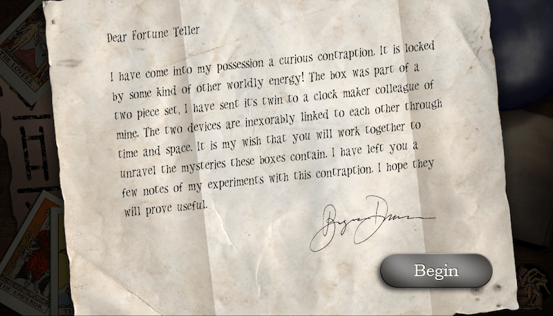 The intro letter to the Fortune Teller player.