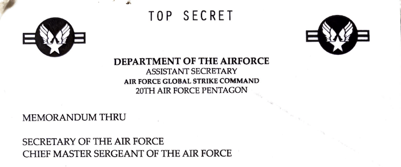 Header for a memo from the Secretary of the Air Force.