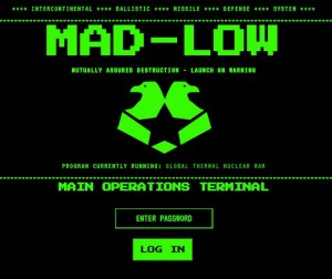 "DOS-screen for MAD-LOW, ""Mutually Assured Destruction - Launch On Warning"" software."