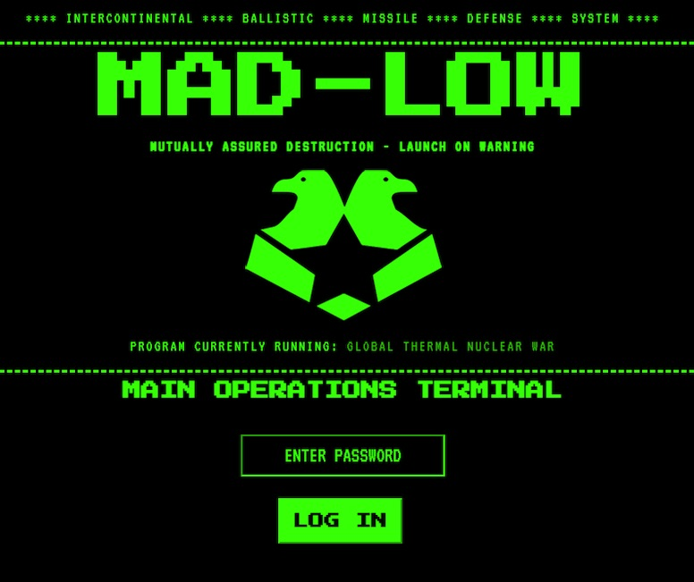 """DOS-screen for MAD-LOW, """"Mutually Assured Destruction - Launch On Warning"""" software."""