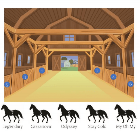 A barn with 5 horses.