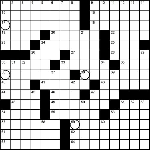 A crossword grid. Some squares have unusual circles in them.