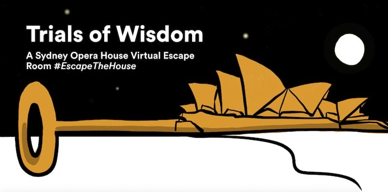 Trials of Widsom, A Sydney Opera House Virtual Escape Room. An illustration of the opera house rendered as bitting on a key.