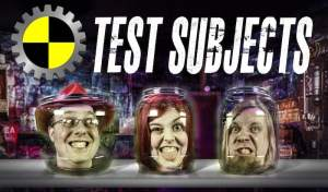 The Test Subjects, 3 people's heads in jars on a table.